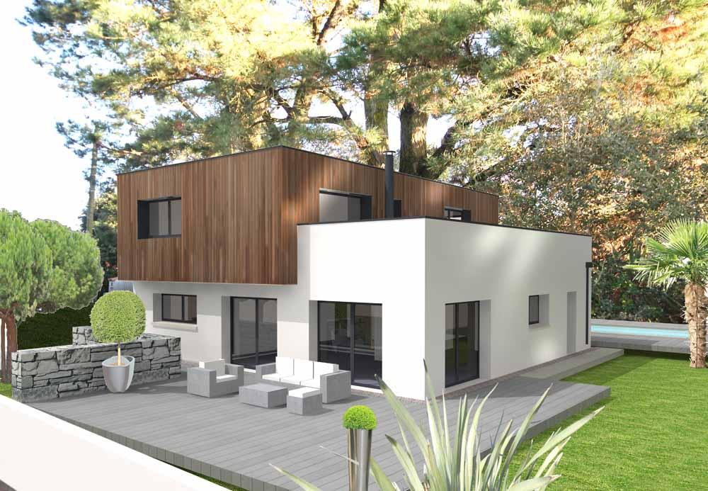 Maison moderne avec une façade en bois SATOV